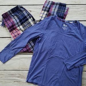Sonoma Pajama Set Plaid Fleece Med
